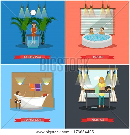 Vector set of spa therapy concept posters, banners. Fish bio peel, Jacuzzi, Aroma bath and Massage design elements in flat style.