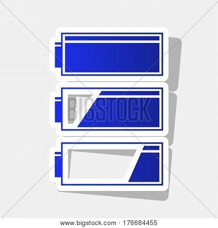 Set of battery charge level indicators. Vector. New year bluish icon with outside stroke and gray shadow on light gray background.