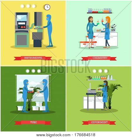 Vector set of scientific research laboratories posters, banners. Instruments, Chemistry, Tube and Experiment concept design elements in flat style.