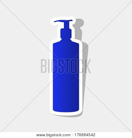 Gel, Foam Or Liquid Soap. Dispenser Pump Plastic Bottle silhouette. Vector. New year bluish icon with outside stroke and gray shadow on light gray background.