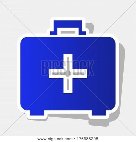 Medical First aid box sign. Vector. New year bluish icon with outside stroke and gray shadow on light gray background.