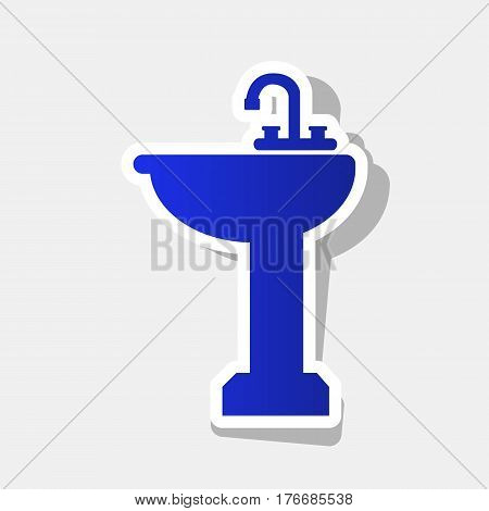 Bathroom sink sign. Vector. New year bluish icon with outside stroke and gray shadow on light gray background.