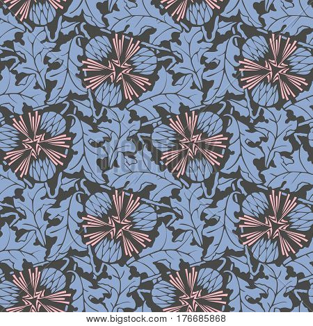 Blowball floral seamless pattern vector. Flower background with leaves in pink, blue and black colors