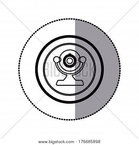 sticker of monochrome contour of desktop webcam in circular frame vector illustration