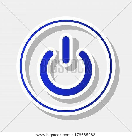 On Off switch sign. Vector. New year bluish icon with outside stroke and gray shadow on light gray background.