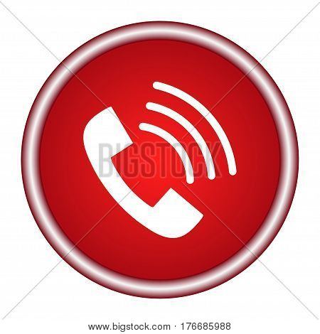 Phone icon in trendy flat style isolated on white background. Handset icon with waves. Telephone symbol for your design, logo, UI.