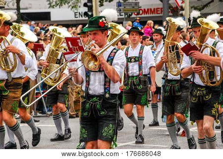 Munich,Germany-September 192015:One of the marching bands during the Brewers Parade at the start of the Oktoberfest