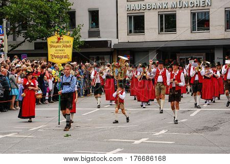 Munich,Germany-September 19,2015:One of the marching bands during the Brewers Parade at the start of the Oktoberfest