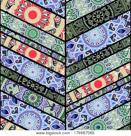 Colorful floral seamless pattern from beveled rectangles with mandala in patchwork boho chic style in portuguese and moroccan motif