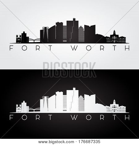 Fort Worth USA skyline and landmarks silhouette black and white design vector illustration.