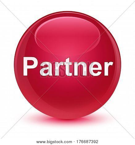Partner Glassy Pink Round Button