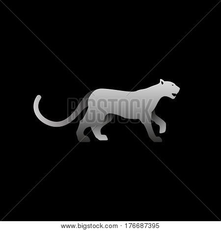 Vector illustration of gray panther. Isolated black background. Icon logo panther side view profile.