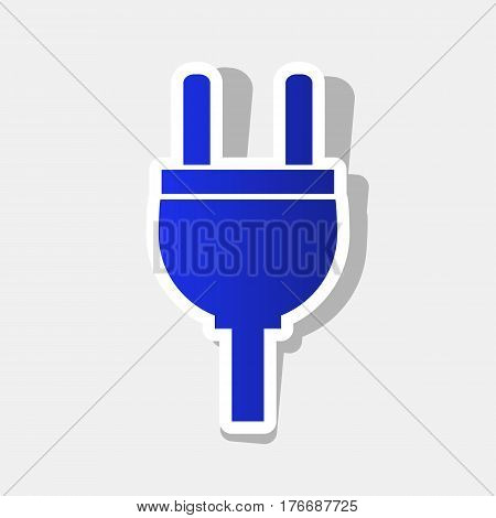 Socket sign illustration. Vector. New year bluish icon with outside stroke and gray shadow on light gray background.