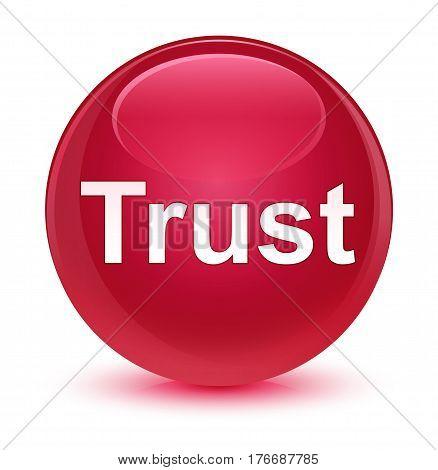 Trust Glassy Pink Round Button