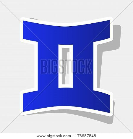 Gemini sign. Vector. New year bluish icon with outside stroke and gray shadow on light gray background.