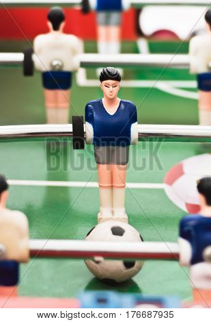Detail of players on football table soccer