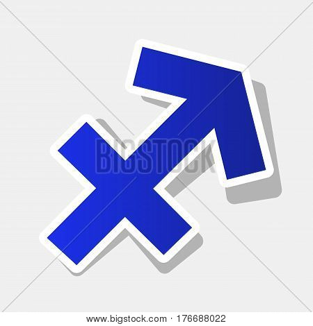 Sagittarius sign illustration. Vector. New year bluish icon with outside stroke and gray shadow on light gray background.
