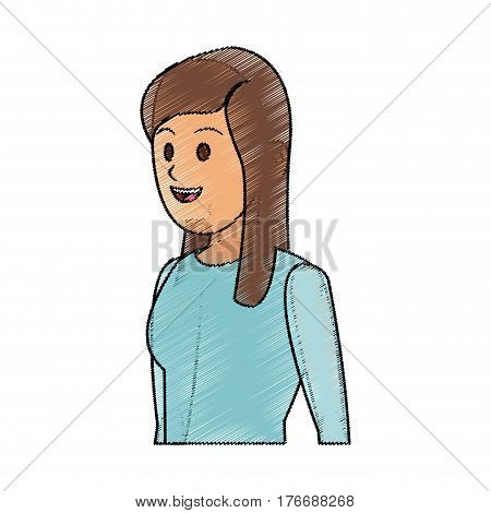 youn woman wearing blue shirt cartoon icon over white background. colorful design. vector illustration