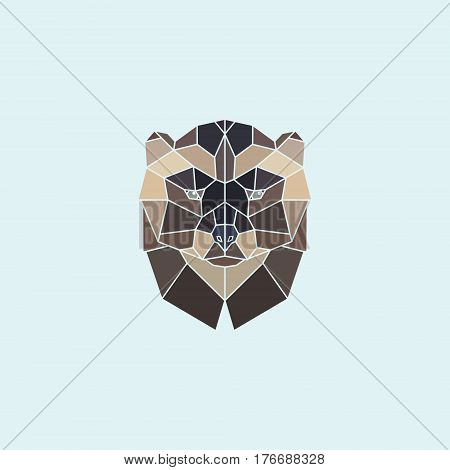 Geometric head wolverine. Abstract multicolor polygonal design. Vector illustration.