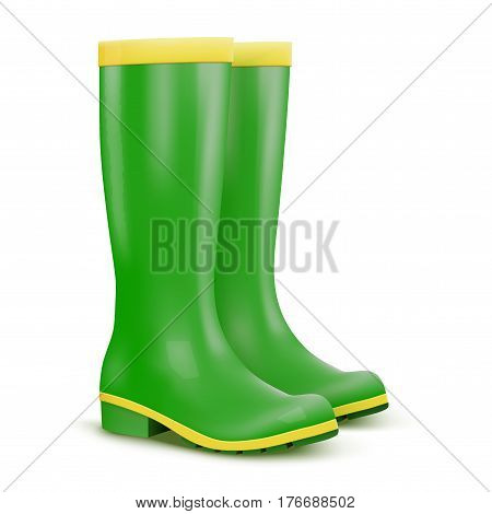 Garden rubber high boots. Work in the garden or at the cottage. Green color. Season illustration Isolated on background.