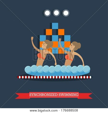 Vector illustration of swimming pool interior and two girls doing water sports. Synchronized swimming performance concept design element in flat style.