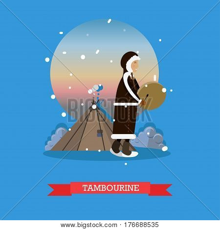 Vector illustration of smiling eskimo, chukchi character playing tambourine. Arctic landscape, northern people lifestyle flat style design elements.