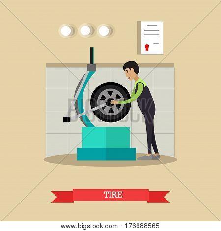 Tire service, wheel balancing concept vector illustration. Equipment for automotive service, repairman, flat style design.