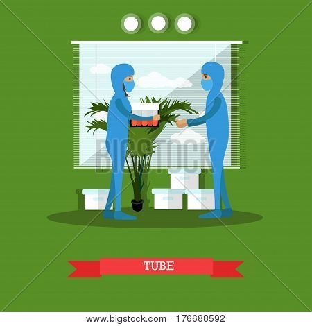 Vector illustration of biologists or chemists male and female in protective masks and overalls and lab glassware. Test tubes with chemicals or toxic and harmful substances. Flat style design.