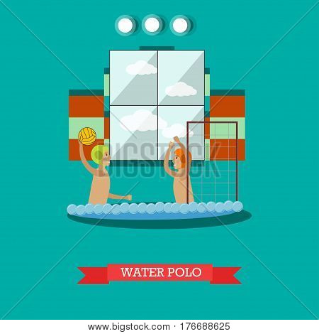 Vector illustration of swimming pool interior and young men playing water game. Water polo concept design element in flat style.