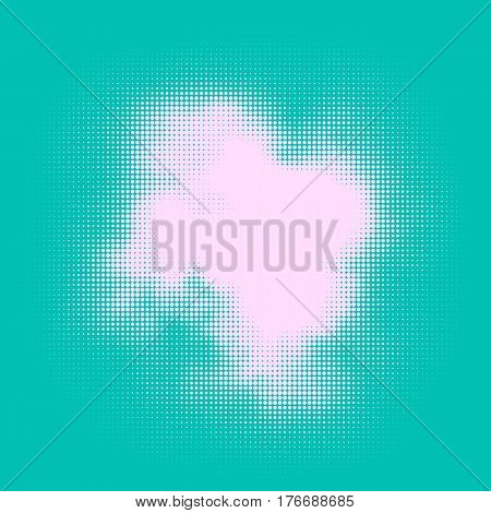 Abstract vector halftone stain. Colorful blot made of round particles. Modern illustration with murky spot. Splattered array of dots. Gradation of tone. Element of design.