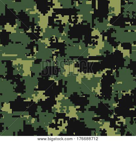 Digital pixel green camouflage seamless patterns. Texture textile Illustration