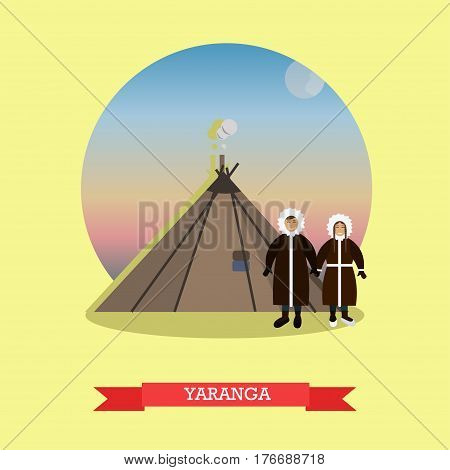 Vector illustration of Chukchi couple, nomadic northern indigenous people of Russia and yaranga, their traditional home. Flat style design element.