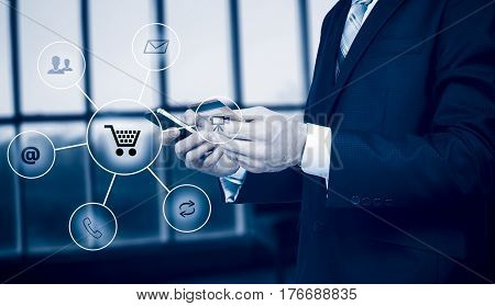 Business man holding smart phone omnichannel icon flow. Online banking payment communication network digital technology internet wireless application development mobile smartphone apps computing
