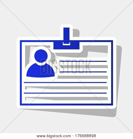 Id card sign. Vector. New year bluish icon with outside stroke and gray shadow on light gray background.