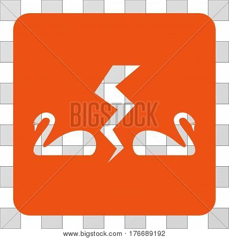 Divorce Swans square icon. Vector pictogram style is a flat symbol perforation in a rounded square shape, orange color.