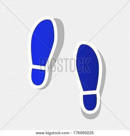 Imprint soles shoes sign. Vector. New year bluish icon with outside stroke and gray shadow on light gray background.