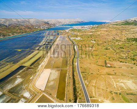 Aerial view of saltern on Pag island, Croatia.