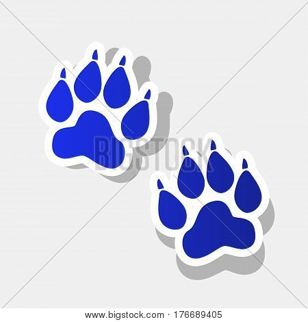 Animal Tracks sign. Vector. New year bluish icon with outside stroke and gray shadow on light gray background.