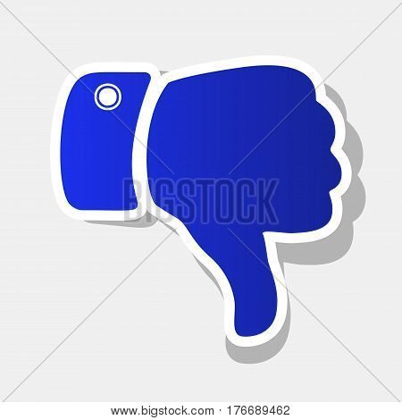 Hand sign illustration. Vector. New year bluish icon with outside stroke and gray shadow on light gray background.