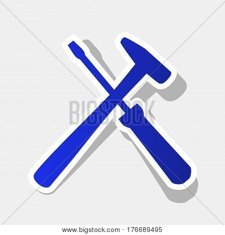 Tools sign illustration. Vector. New year bluish icon with outside stroke and gray shadow on light gray background.