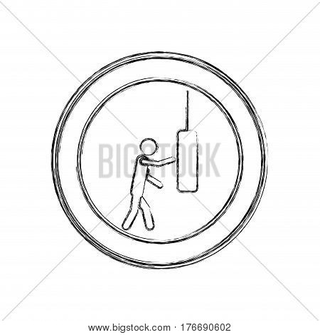 monochrome sketch of man knocking punching bag in circular frame vector illustration