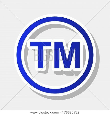 Trade mark sign. Vector. New year bluish icon with outside stroke and gray shadow on light gray background.
