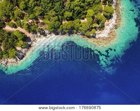 Aerial view of bay on Lastovo island in Croatia.