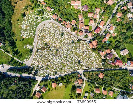 Aerial view of Ravne Bakije cemetery in Sarajevo, Bosnia and Herzegovina.