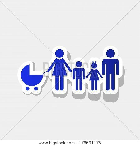 Family sign illustration. Vector. New year bluish icon with outside stroke and gray shadow on light gray background.