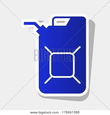 Jerrycan oil sign. Jerry can oil sign. Vector. New year bluish icon with outside stroke and gray shadow on light gray background.