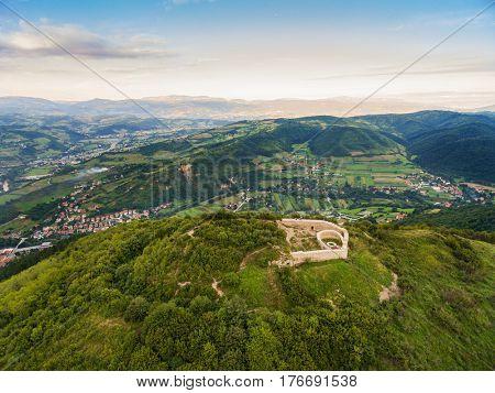 Aerial view of Bosnian pyramid of Visoko in Bosnia and Herzegovina.