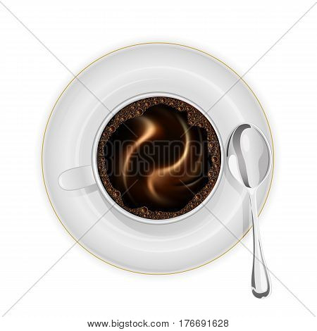 Coffee cup on a saucer with spoon isolated on white background, illustration.