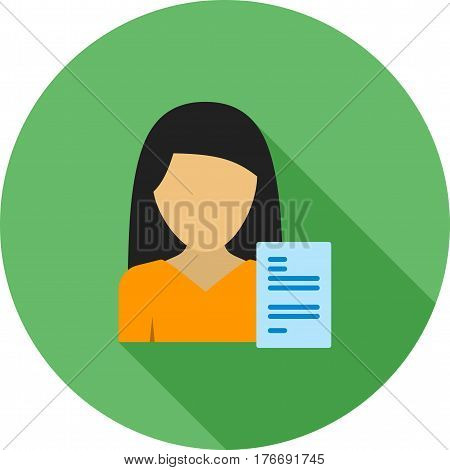 Resume, interview, job icon vector image. Can also be used for women. Suitable for mobile apps, web apps and print media.