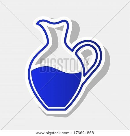 Amphora sign. Vector. New year bluish icon with outside stroke and gray shadow on light gray background.